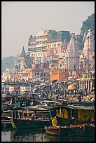 Boats and Dasaswamedh Ghat, sunrise. Varanasi, Uttar Pradesh, India ( color)