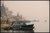 Temples and Ganga River, foggy sunrise. Varanasi, Uttar Pradesh, India (color)
