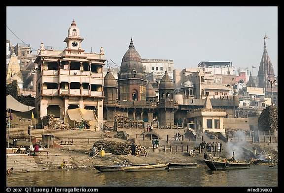 Manikarnika Ghat, the main burning ghat. Varanasi, Uttar Pradesh, India (color)