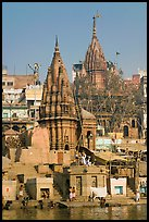 Hindu temples on the riverbank of the Ganga River. Varanasi, Uttar Pradesh, India ( color)