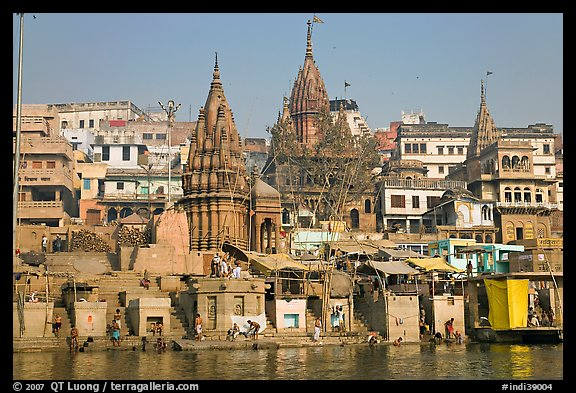 Temples on riverbank of the Ganges, Manikarnika Ghat. Varanasi, Uttar Pradesh, India (color)