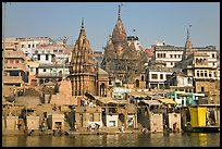 Temples on riverbank of the Ganges, Manikarnika Ghat. Varanasi, Uttar Pradesh, India ( color)