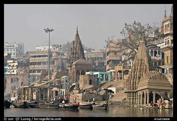 Temples on the banks of Ganges River, Manikarnika Ghat. Varanasi, Uttar Pradesh, India (color)