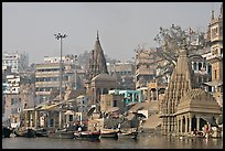 Temples on the banks of Ganges River, Manikarnika Ghat. Varanasi, Uttar Pradesh, India