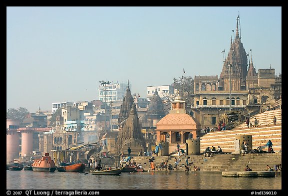 Temples and steps on Ganga riverbank. Varanasi, Uttar Pradesh, India (color)