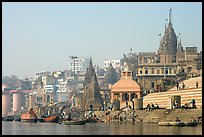 Temples and steps on Ganga riverbank. Varanasi, Uttar Pradesh, India ( color)
