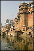 Castle-like towers and steps, Ganga Mahal Ghat. Varanasi, Uttar Pradesh, India