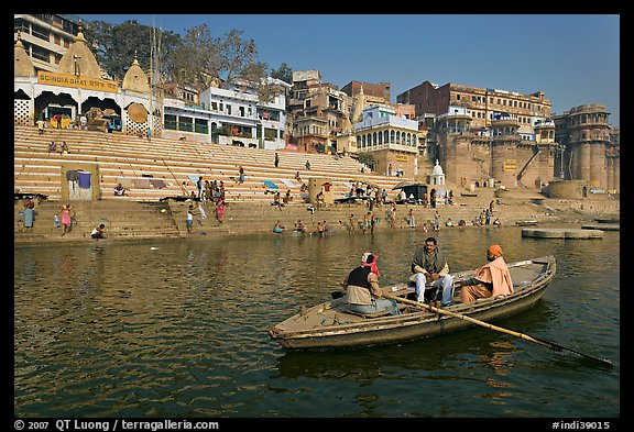 Rowboat in front of Scindhia Ghat. Varanasi, Uttar Pradesh, India