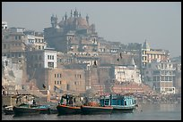 Alamgir Mosque above boats and the Ganges River. Varanasi, Uttar Pradesh, India ( color)