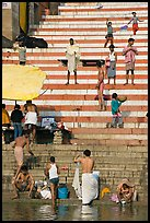 Drying out on stone steps of Meer Ghat. Varanasi, Uttar Pradesh, India ( color)