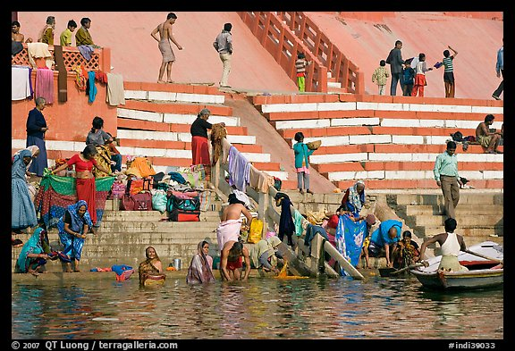 Women Bathing At Meer Ghat Varanasi Uttar Pradesh India
