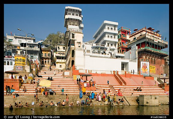 Ganges River at Meer Ghat. Varanasi, Uttar Pradesh, India (color)