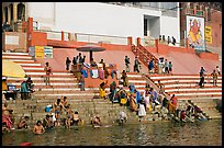 Colorful steps at Meer Ghat. Varanasi, Uttar Pradesh, India ( color)