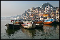 Ganges River, with boats and Dasaswamedh Ghat. Varanasi, Uttar Pradesh, India ( color)