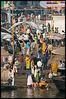 Colorful crowd on steps of Dasaswamedh Ghat. Varanasi, Uttar Pradesh, India ( color)