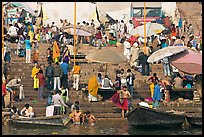 Ganga riverside activity on steps of Dasaswamedh Ghat. Varanasi, Uttar Pradesh, India ( color)