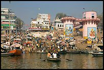 Dasaswamedh Ghat, the main Ghat on the Ganges River. Varanasi, Uttar Pradesh, India ( color)