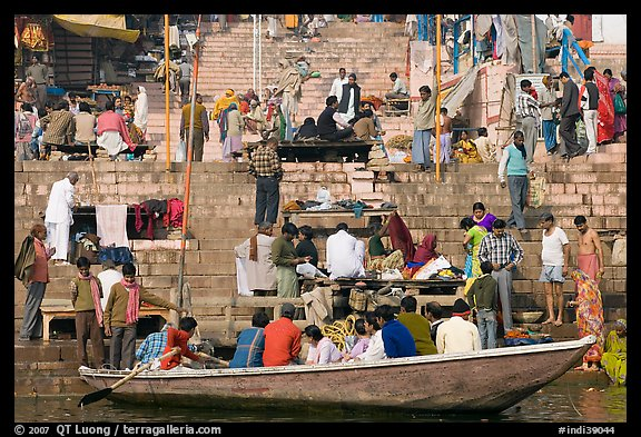 Boat and stone steps, Dasaswamedh Ghat. Varanasi, Uttar Pradesh, India (color)