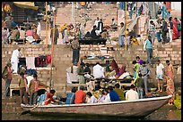 Boat and stone steps, Dasaswamedh Ghat. Varanasi, Uttar Pradesh, India