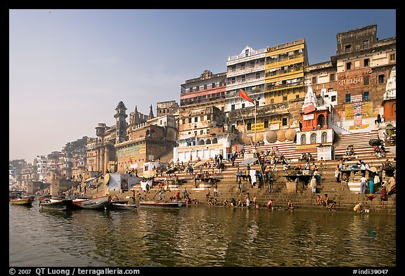 Steps of Ahilyabai Ghat and Ganga River. Varanasi, Uttar Pradesh, India