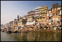 Steps of Ahilyabai Ghat and Ganga River. Varanasi, Uttar Pradesh, India ( color)