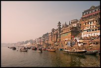 Bathing ghats and Ganga River at sunrise. Varanasi, Uttar Pradesh, India (color)