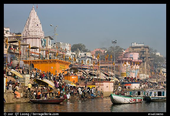 Crowds at Dasaswamedh Ghat. Varanasi, Uttar Pradesh, India