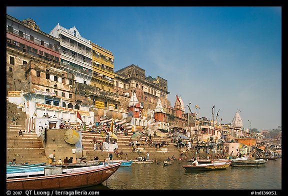 Steps of Ahilyabai Ghat and Ganges River. Varanasi, Uttar Pradesh, India