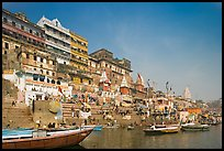 Steps of Ahilyabai Ghat and Ganges River. Varanasi, Uttar Pradesh, India ( color)