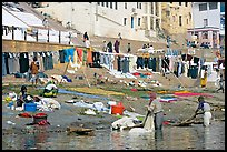 Laundry washed and hanged on Ganges riverbank. Varanasi, Uttar Pradesh, India (color)