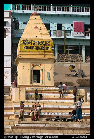 Shrine and steps, Kshameshwar Ghat. Varanasi, Uttar Pradesh, India