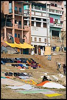 Laundry being dried on steps, Kshameshwar Ghat. Varanasi, Uttar Pradesh, India (color)