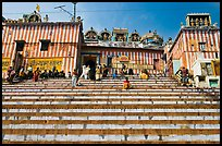 Colorful stripes and steps of shrine at Kedar Ghat. Varanasi, Uttar Pradesh, India (color)
