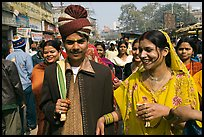 Bride and groom in a street. Varanasi, Uttar Pradesh, India (color)