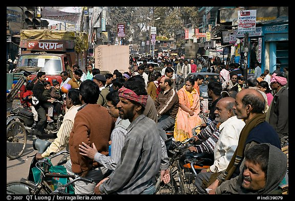 Riders waiting in congested street. Varanasi, Uttar Pradesh, India (color)