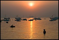 Mumbai harbor, sunrise. Mumbai, Maharashtra, India