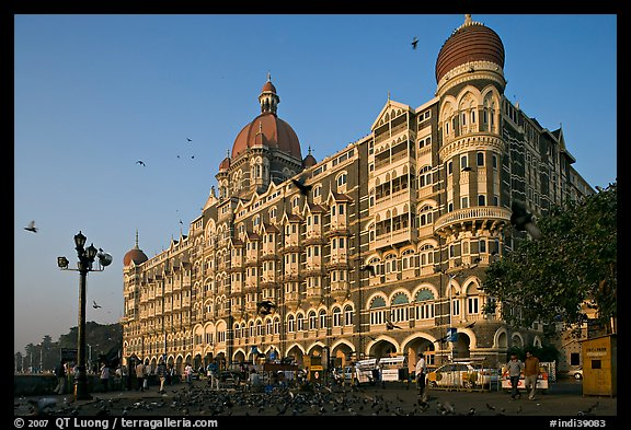 Taj Mahal Palace Hotel and pigeons. Mumbai, Maharashtra, India