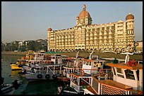 Tour boats and Taj Mahal Palace Hotel. Mumbai, Maharashtra, India
