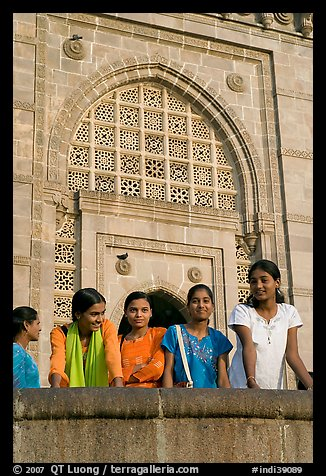 Girls in front of Gateway of India. Mumbai, Maharashtra, India (color)