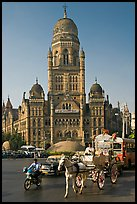 Horse carriage and colonial-area building of Bombay Municipal Corporation. Mumbai, Maharashtra, India