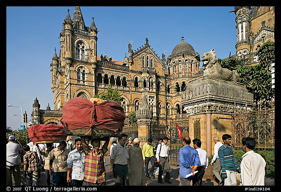 Crowd in front of Chhatrapati Shivaji Terminus. Mumbai, Maharashtra, India