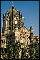 Cathedral-like Chhatrapati Shivaji Terminus main tower. Mumbai, Maharashtra, India (color)