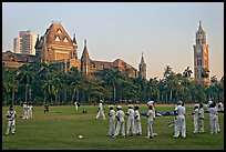 Boys in cricket attire on Oval Maidan, High Court, and Rajabai Tower. Mumbai, Maharashtra, India (color)