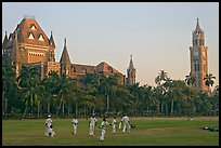 Cricket players, Oval Maiden, High Court, and University of Mumbai. Mumbai, Maharashtra, India (color)