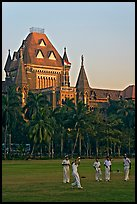 Cricket players and high court. Mumbai, Maharashtra, India (color)