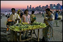 Corn stall at twilight, Chowpatty Beach. Mumbai, Maharashtra, India (color)