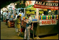 Drinks stall at night, Chowpatty Beach. Mumbai, Maharashtra, India