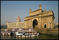 Gateway of India and Taj Mahal Palace, morning. Mumbai, Maharashtra, India (color)