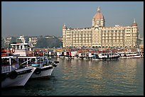 Tour boats and Taj Mahal Palace, morning. Mumbai, Maharashtra, India (color)