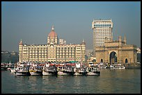 Taj Mahal Palace and Gateway of India. Mumbai, Maharashtra, India (color)